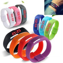 Silicone Rubber Band Touch Screen Red Light Sports LED Watch Bracelet