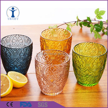 Wholesale China Factory Customized Unique Shaped Home Goods Colored Water Measuring Drinking Glass Cup 365ml