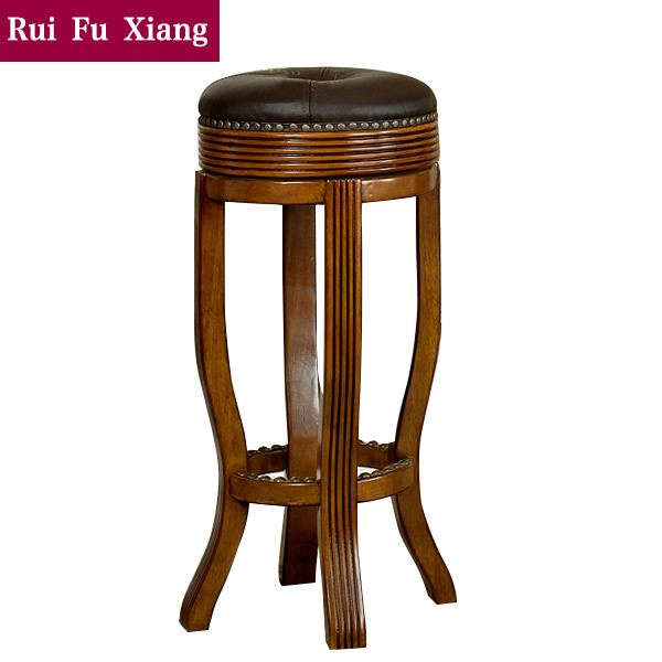 European style wood frame and leather finish round seat bar stool M-203