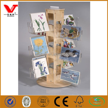 Design Wooden Greeting Card Display Stands Acrylic Shelf