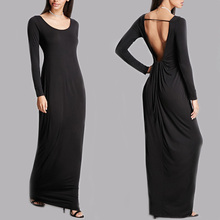 2017 summer maxi dresses soft knit jersey open back sleeveless dress long maxi dress
