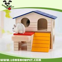 Eco-friendly Natural Wood Hamster House with Feeder