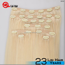 "2015 Thick Deluxe Clip hair 18/20/22/24"" 125g/ 190g/210/280gram white clip in hair extension"