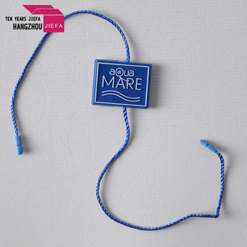 High quality customized embossed logo string plastic seal tag for clothing hang tag