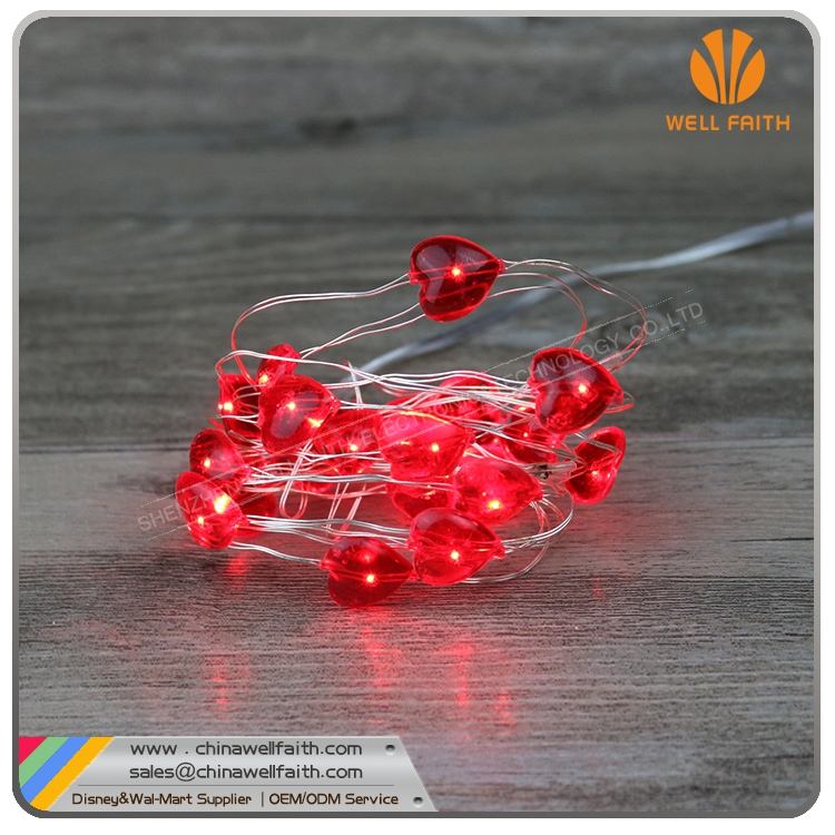 2m 20leds silver wire red heart shape mini christmas string lights