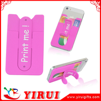 customized logo printed handphone back silicone business card holder