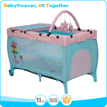 Pink blue colorful Infant baby playpen baby cot with diaper changer