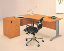 Laminate office furniture L-shaped office desk with steel legs
