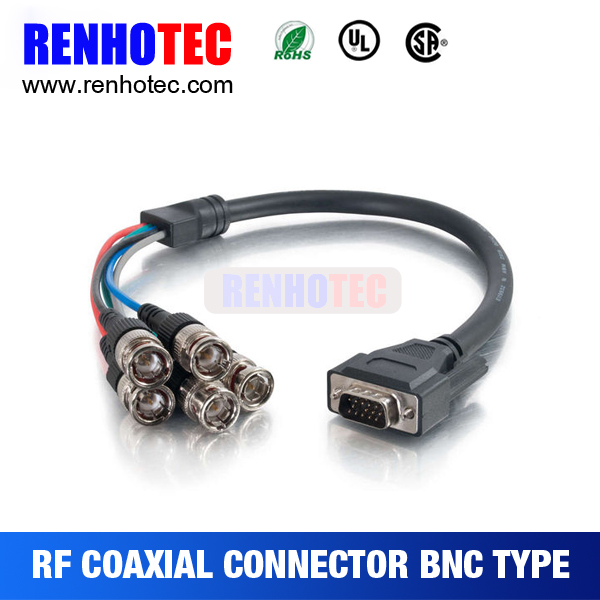 Dsub 15 pin to 5 BNC male plug cable for Camera