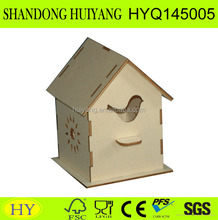 unfinished laser engraving hot selling wooden bird house