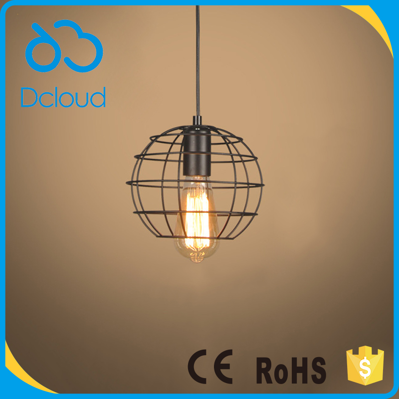 Dcloud vintage global small iron cage ceiling pendant light fixture for restaurant kitchen bar