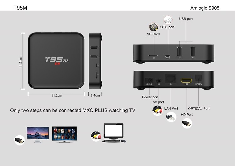T95 T95N T95M S905 풀 HD 미디어 플레이어 4 천개 3D 1080 마력 안드로이드 TV 박스 쿼드 코어 상자 iptv LED 디스플레이 어
