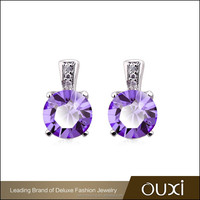 OUXI new design latest gold plated single stone earring designs