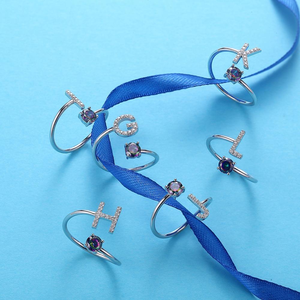 Ring Adjustable U7 925 Sterling Silver Rings Adjustable Initial ...