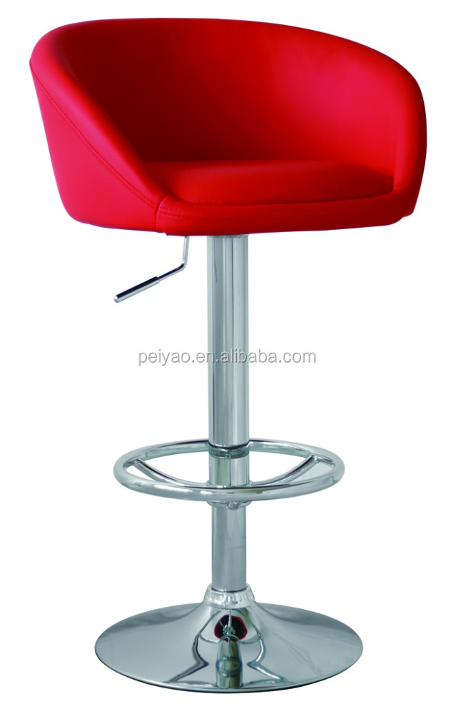 Modern Romantic Adjustable Swivel PU Bar Stool High Chair With Round Footrest