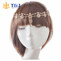 2015 Hot Sale Bohomian Style Pearl Tassel Flower Stretch Crystal Bridal Hair Accessories Double Chain Beaded Headbands