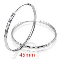 Wedding Jewelry 100% Sterling Silver Jewelry Female Exaggerated Earrings 45mm Big Hoop Earrings