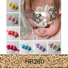 New arrive European designs rose lace beads baby girl headbands