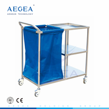 AG-SS010A Stainless steel base medical dressing dirty linen trolley with one laundry bag