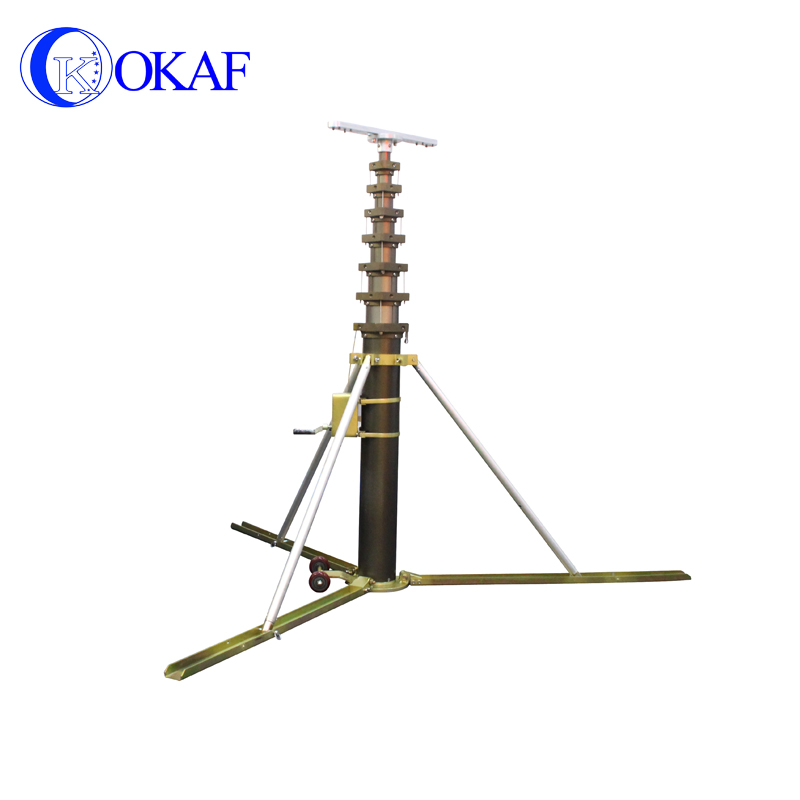 Portable mobile telescopic antenna mast high mast lighting tower