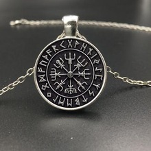 Fashion Glass SYMBOL OF NORSE RUNIC NORSE Runes Vegvisir Pendant Necklace Compass With Chain For Women Men Viking Jewelry
