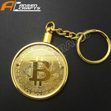 Custom metal key chain and custom metal gold and silver bitcoin keychain