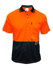 Hi vis fluorescent orange/yellow safety work wear polo shirts