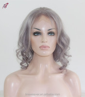 wholesale top quality 100% Peruvian human hair full lace wig grey color body wave For white Women