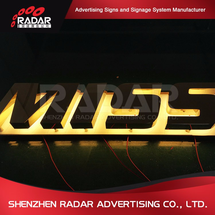 Professional stainless steel led backlit chrome logo sign