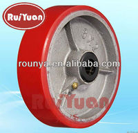 "Heavy Polyurethane on Steel Wheel 4"" 5"" 6"" 8"" 10"" x 2"" 900# Cap with 3/4"" ID Roller Bearing"