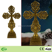 Polyresin golden cross decoration for Christmas decoration