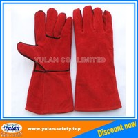 long red Leather welding gloves tig