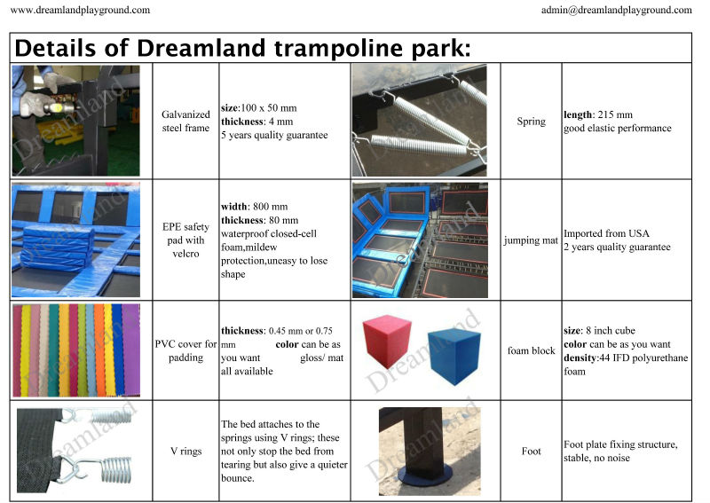 Manufacturing commercial indoor long trampolines