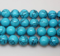 synthetic imitation of natural round blue turquoise beads strand