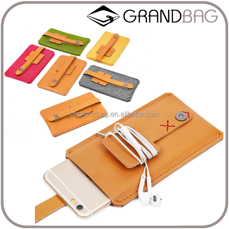 New Design Genuine Leather Mobile Phone Case with Earphone Organizer felt pouch for iphone 6/6S