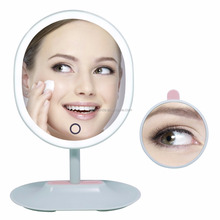 Oval Shaped Rechargeable Touch Screen Adjustable Brightness Makeup Vanity Mirror with Lights