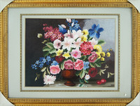Hand Embroidered Painting of Flowers in 100% Silk Threads- Suzhou Embroidery Art of Oil Painting Repro