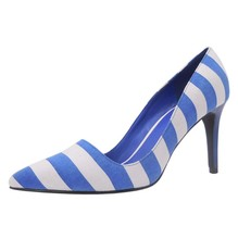 women sexy vamp shape striped pattern high heels pumps shoes