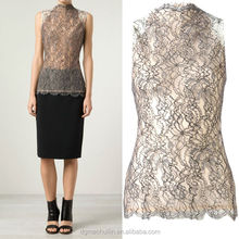 oem service supply type blouse sleeveless lace high collar blouse