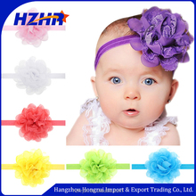 2017 hot sale multicolor flower baby headband ,chiffon Rosette hair Headband,Lace baby headband