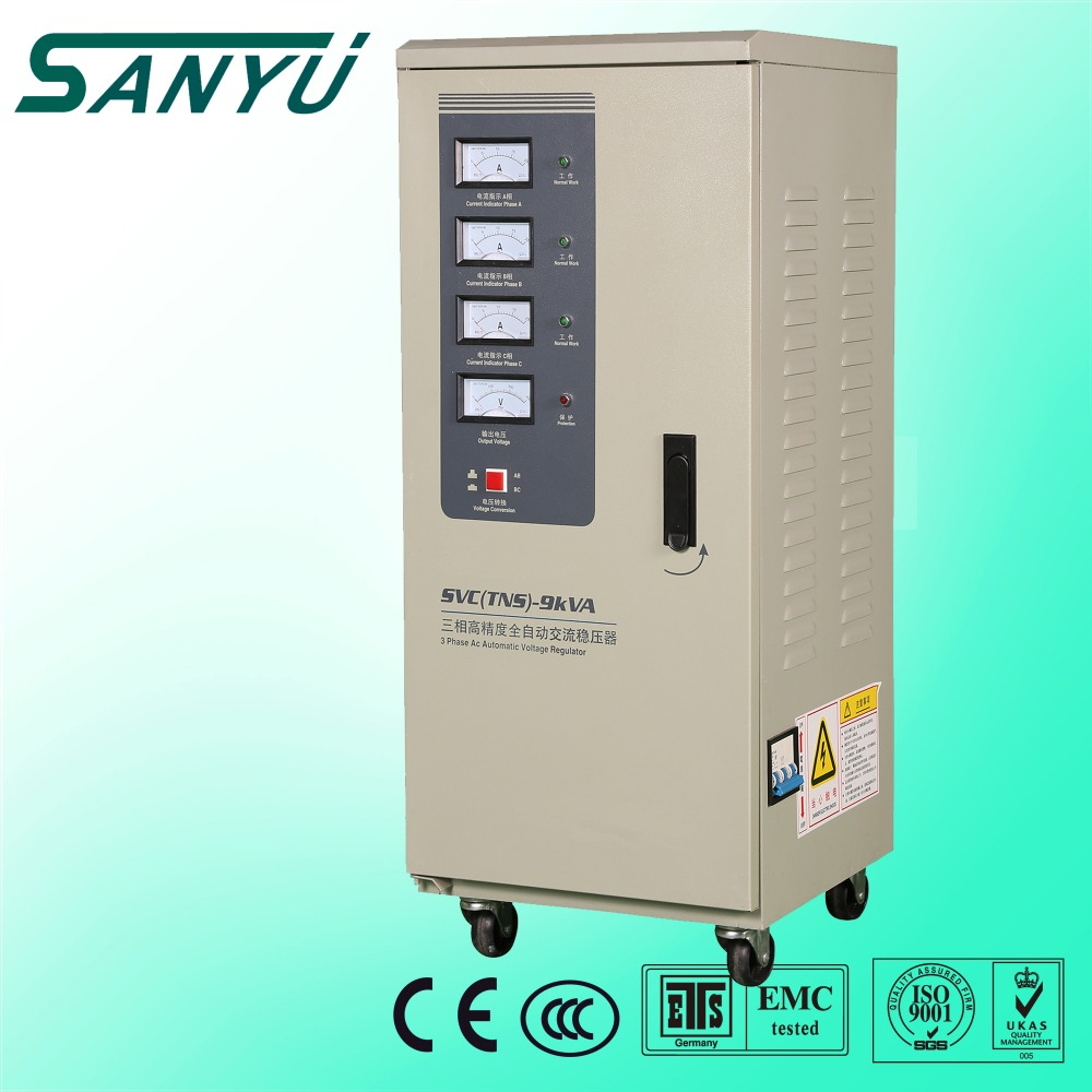 SANYU 15KVA single phase three phase SVC main automatic voltage stabilizer, regulator