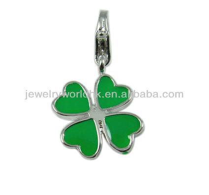 2014 newest design fashion enamel four leaf clover heart pendant