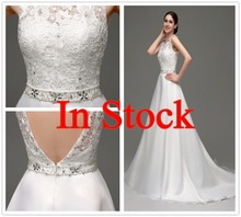 Wholesale High Quality Backless Organza and Lace A Line Stock Alibaba Wedding Dresses 2015 New Arrival