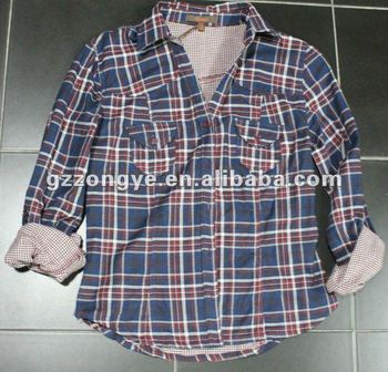 men's high quality plaids shirt, double layer western cowboy long sleeve plaid shirt