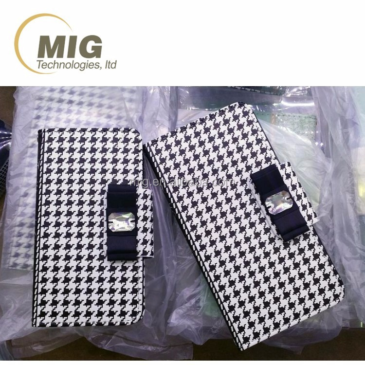 Houndstooth pattern handbag design with metal chain bracelet mobile phone case/ back cover for samsung galaxy s6/ s6 edge