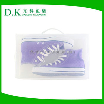 Recyclable Material Clear Plastic PP Shoe Box With Handle