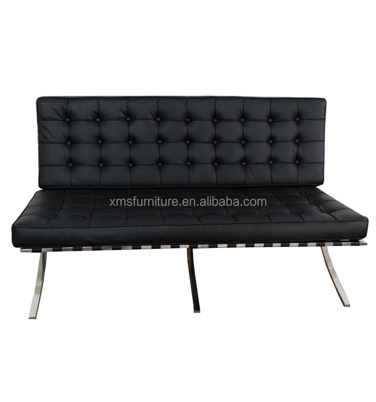European Lounge Chair 3 Seater Loveseat Black Leather Barcelona Chair