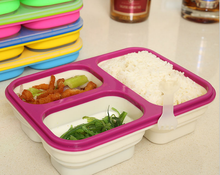 Food grade personalized eco-friendly 3 compartments silicone adult lunch box