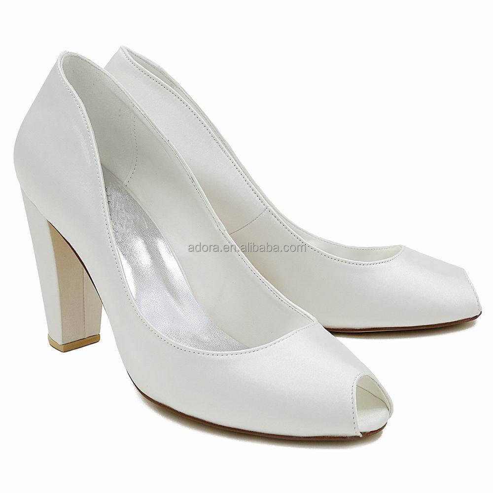 Ivory White Dyeable Satin Peep Toe Wedding Shoes Block Heel Dyeable Wedding Shoes Women