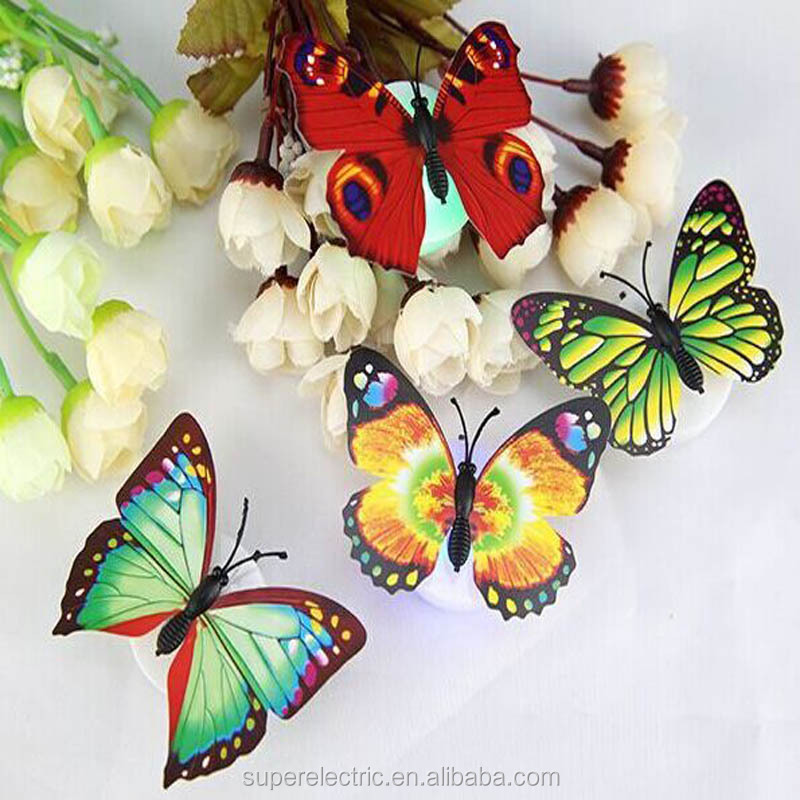 2016 New Design Novelty Multicolor Party Favor LED Butterfly Grils Favorate LED Flashing Butterfly Light For Halloween